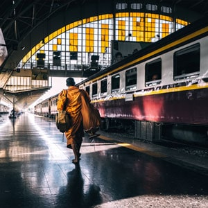 Monk at Hua Lamphong Train Station In Bangkok